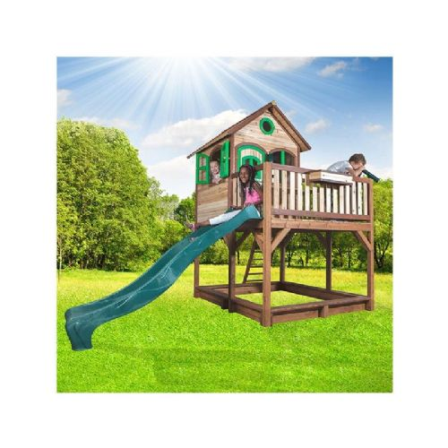 Ormesby Playhouse - Kids Wooden Lookout Post Wendy House With Big Wavy Slide